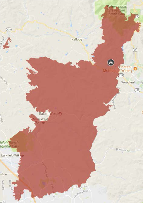 Map of Tubbs Fire
