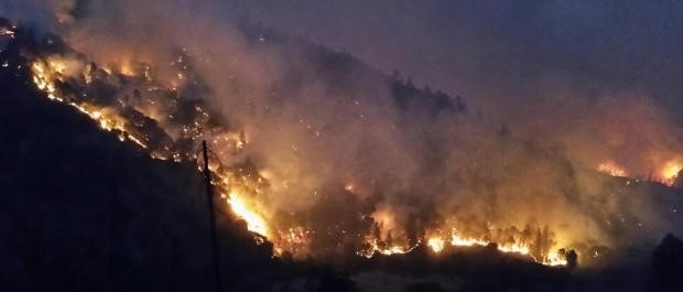 night time view of Helena Fork wildfire