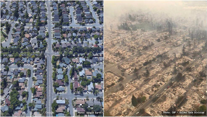 Santa Rosa Wildfire Before and After