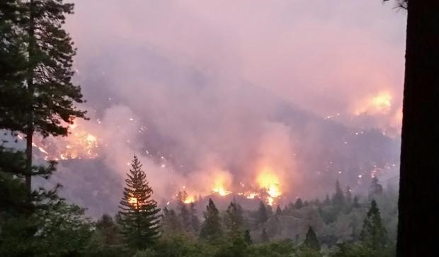 smoke and flames from Helena Fork Fire