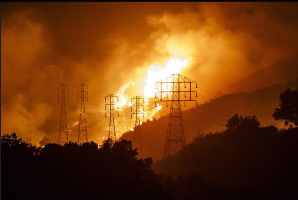 Southern California Edison Power lines and the Thomas Fire