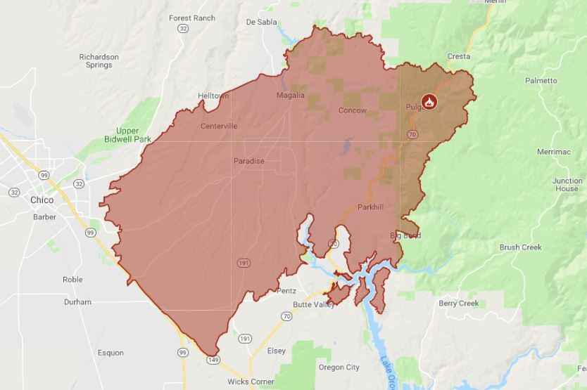 map of camp fire in butte county CA